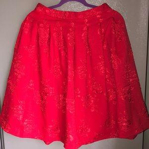 A red a line skirt